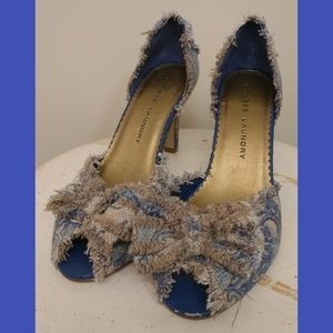 Tan and blue Chinese Laundry heels